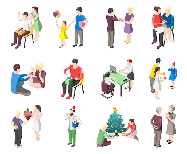 Mensen met geschenken isometrische tekens