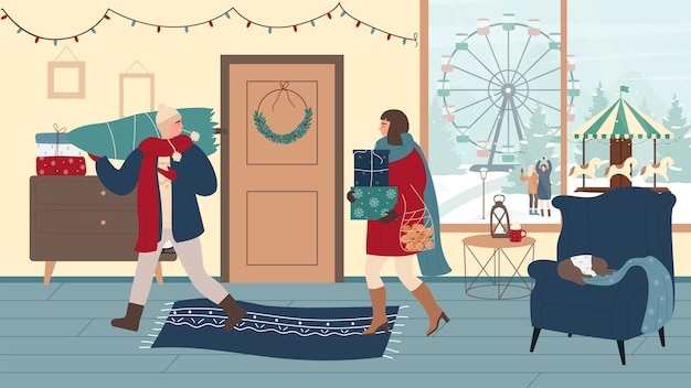 Mensen met geschenken vakken kerstboom op kerstavond thuis