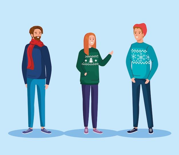 Mensen met het vrolijke ontwerp van kerstmissweaters, het winterseizoen en de illustratie van het decoratiethema