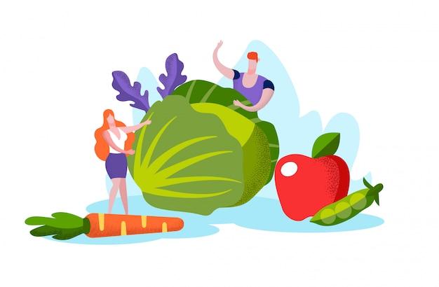 Mensen met kool in handen. groente en fruit.