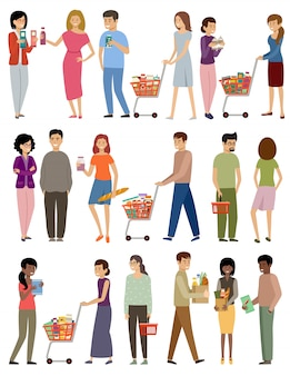 Mensen met kruidenierswinkelmanden en karretjes op een witte achtergrond