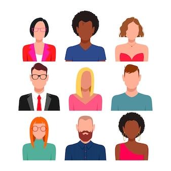 Mensen met lege gezichten avatar set. andere huidskleur, haar en kleding