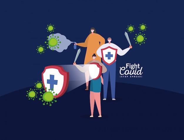 Mensen met maskers beschermen het zwaard en het spraygevechtsvirus