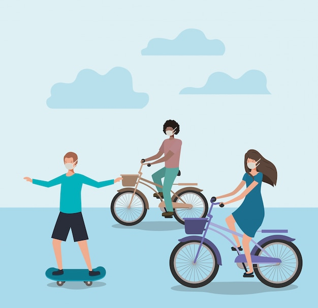 Mensen met maskers op fietsen en skateboard met wolken