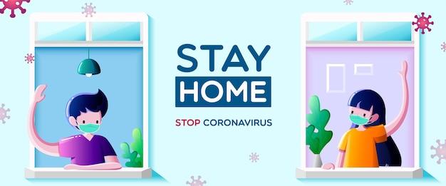 Mensen met medisch masker blijven voor ramen en kijken uit het appartement. communicatie van buren, blijf thuis-campagne voor coronaviruspreventieconcept.