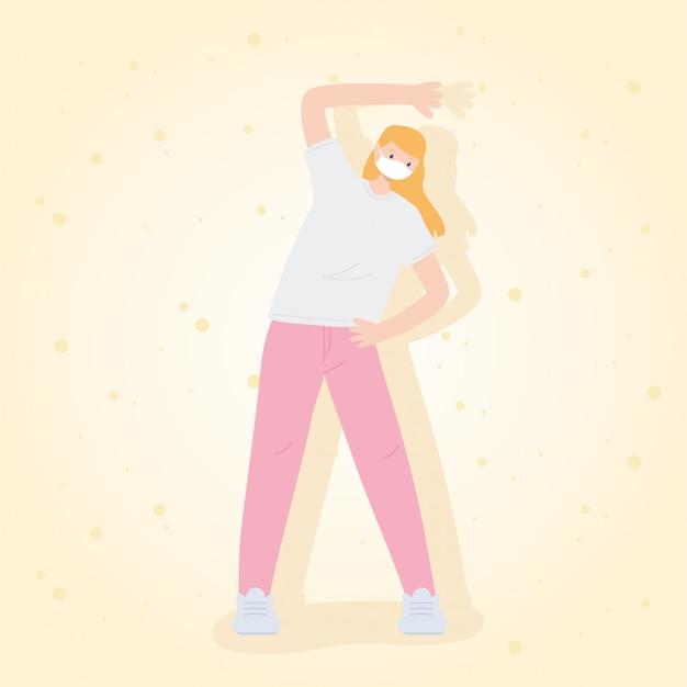Mensen met medische gezichtsmasker, blonde vrouw oefenen oefening uitrekken, stad activiteit tijdens coronavirus