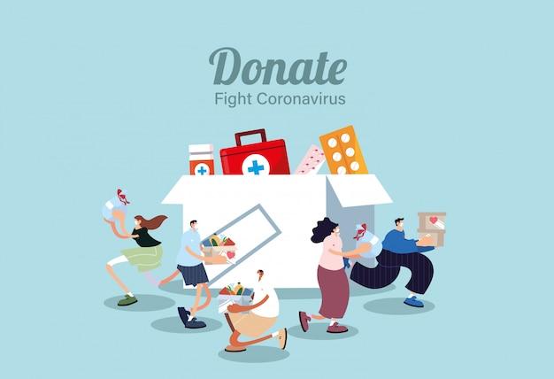 Mensen met medische maskers die medicijnen doneren, covid 19