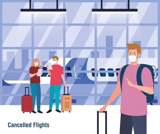 Mensen met medische maskers en tassen voor vliegtuig