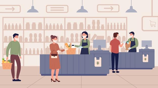 Mensen met medische maskers kopen voedingsproducten in de supermarkt