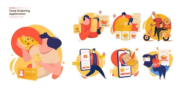Mensen met online eten bestellen illustratie set