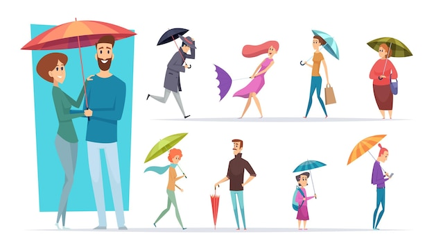 Mensen met paraplu. regent dag wandelen volwassenen mannelijke en vrouwelijke paraplu in handen vector tekens. illustratie man beschermt regenjas, mensen stortbui