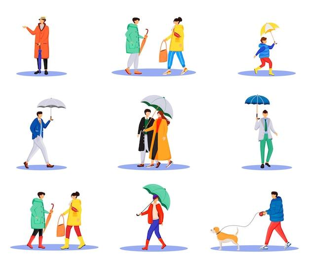 Mensen met paraplu's egale kleur anonieme tekenset