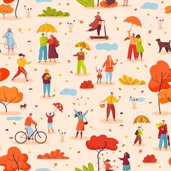 Mensen met paraplu's lopen herfst park naadloze patroon herfst seizoen buitenactiviteit vector textuur