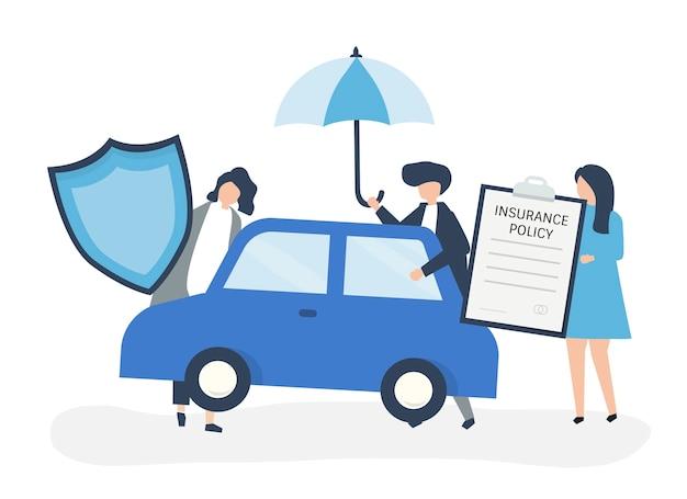 Mensen met pictogrammen met betrekking tot autoverzekeringen