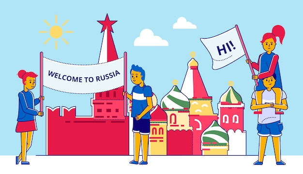 Mensen met poster, rusland achtergrond afbeelding. vrouw man met welkom, cultuur traditionele zomerkaart. russische reis in de buurt van het kremlingebouw, moskoustijl. Premium Vector