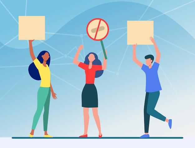Mensen met protestborden. vergadering, demonstranten, activisten platte vectorillustratie. politiek, protest, activisme