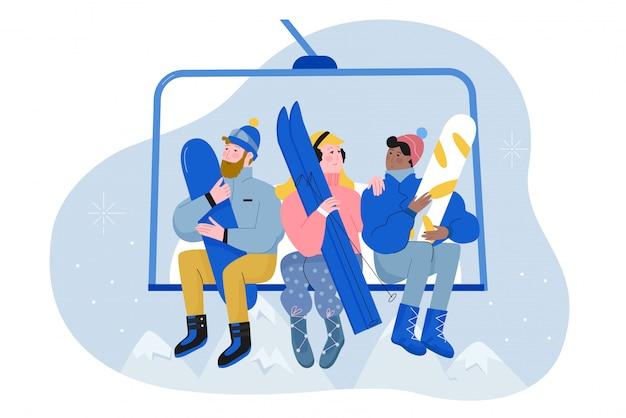 Mensen met ski en snowboard klimmen lift platte karakter illustratie winter vakantie concept