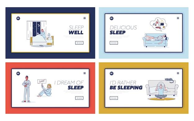 Mensen met slapeloosheid. stripfiguren konden niet slapen