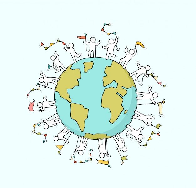 Mensen met slingers en vlaggen over de hele wereld