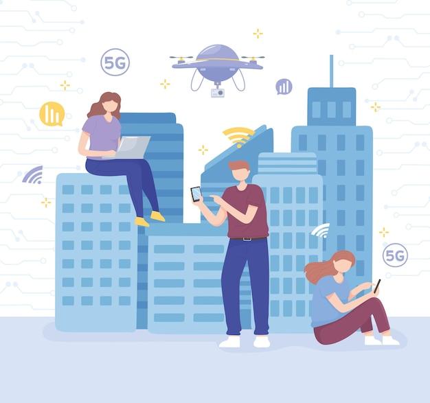 Mensen met smartphones, laptops, gebruiken supersnel internet