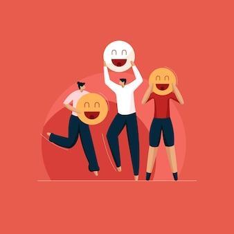 Mensen met smiley emoji internationale dag van geluk vectorillustratie