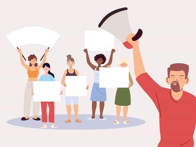 Mensen met spandoeken en borden protesteren, mensen vuisten en tekenen op protes Premium Vector