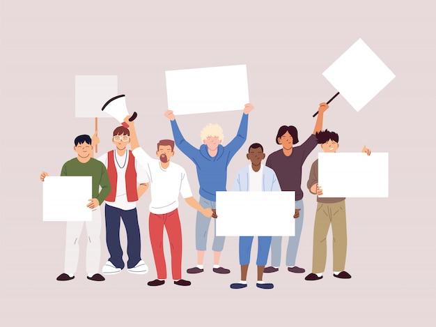 Mensen met spandoeken en borden protesteren, mensen vuisten en tekenen op protes