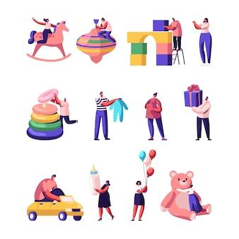 Mensen met speelgoed en spullen voor kinderen. cartoon vlakke afbeelding