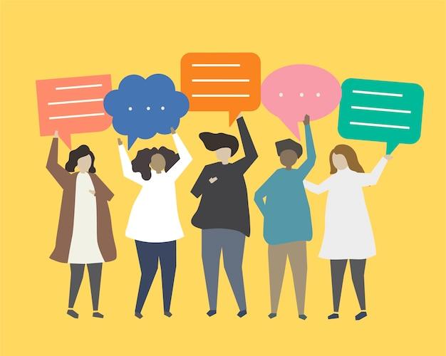 Mensen met spraak bubbels illustratie
