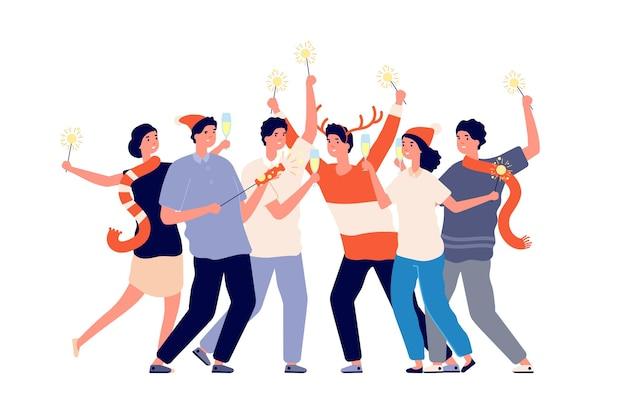 Mensen met sterretjes. vriendenavondfeest, kerstbedrijf op bedrijfsfeest. groep mannen vrouw vieren nieuwjaar vectorillustratie. feestavond vieren, kerstviering gelukkig
