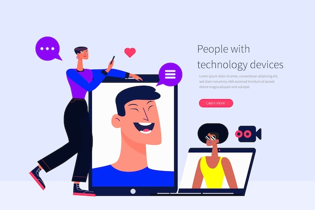 Mensen met technologische apparaten