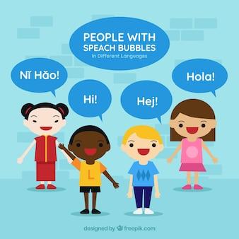 Mensen met tekstballonnen die verschillende talen spreken