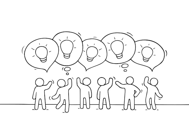 Mensen met tekstballonnen en lampideeën