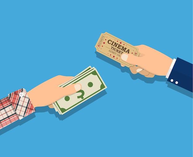 Mensen met ticket, geld in handen.