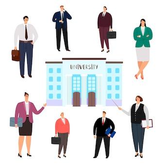 Mensen met verschillende beroepen op de universiteit