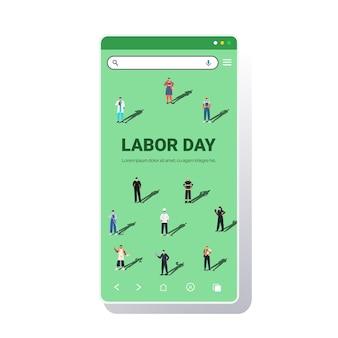 Mensen met verschillende beroepen vieren arbeidsdag mix racearbeiders