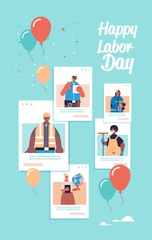 Mensen met verschillende beroepen vieren dag van de arbeid