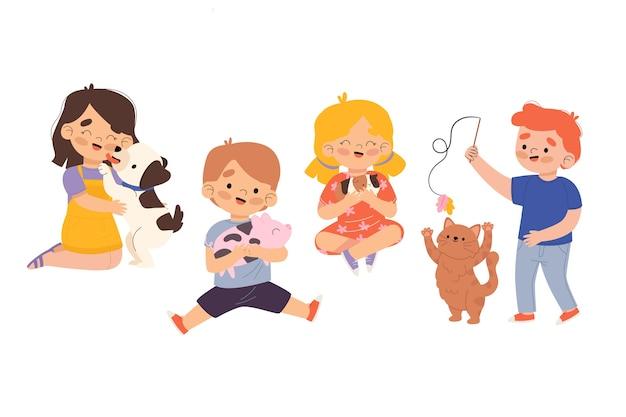 Mensen met verschillende huisdierenillustratie