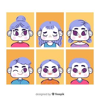 Mensen met verschillende uitdrukkingen avatar pack
