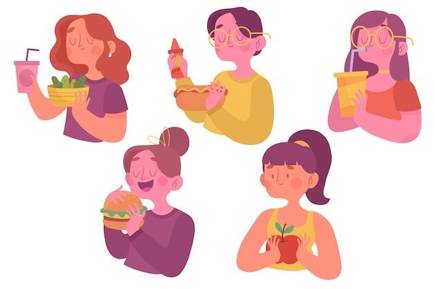 Mensen met voedselconcept