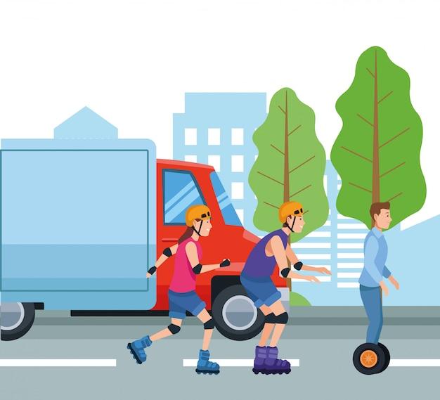 Mensen met voertuigen