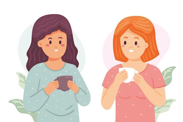 Mensen met warme dranken illustratie