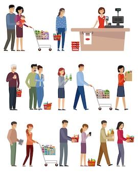 Mensen met winkelwagentjes en mand met eten