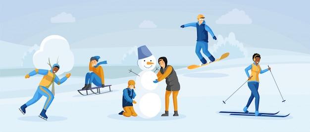 Mensen met winter plezier vlakke afbeelding