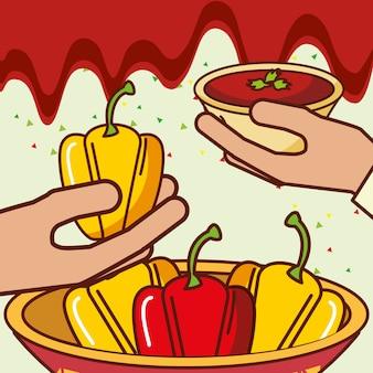 Mensen mexicaans eten