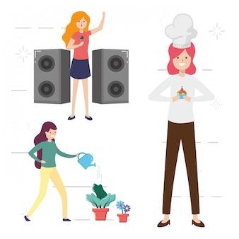 Mensen mijn hobby, mensen die activiteiten doen, planten water geven, koken, zingende illustratie