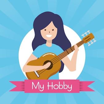 Mensen mijn hobby, persoon met een gitaarillustratie