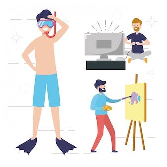 Mensen mijn hobbymensen die activiteiten doen, zwemmen, schilderen, videogames spelen