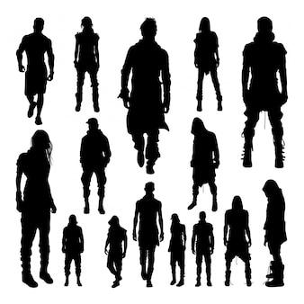 Mensen modieuze stijl silhouetten.