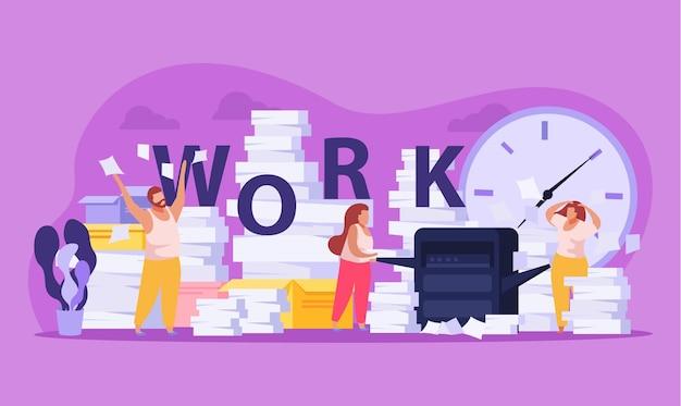 Mensen moe van lang papierwerk en stapels documenten platte compositie